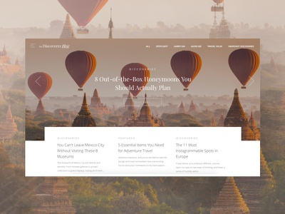 The Discoverer Blog homepage launch! thediscoverer hot air balloons desktop website homepage blog