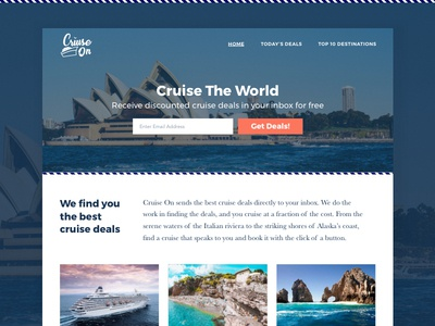 Cruise On Website Desktop Design deals cruise travel mockup homepage branding