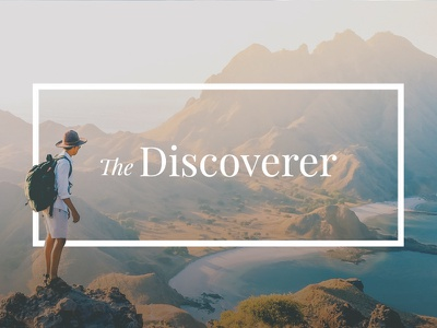 The Discoverer back of business card business card mountain man standing discover travel design identity branding logo typography