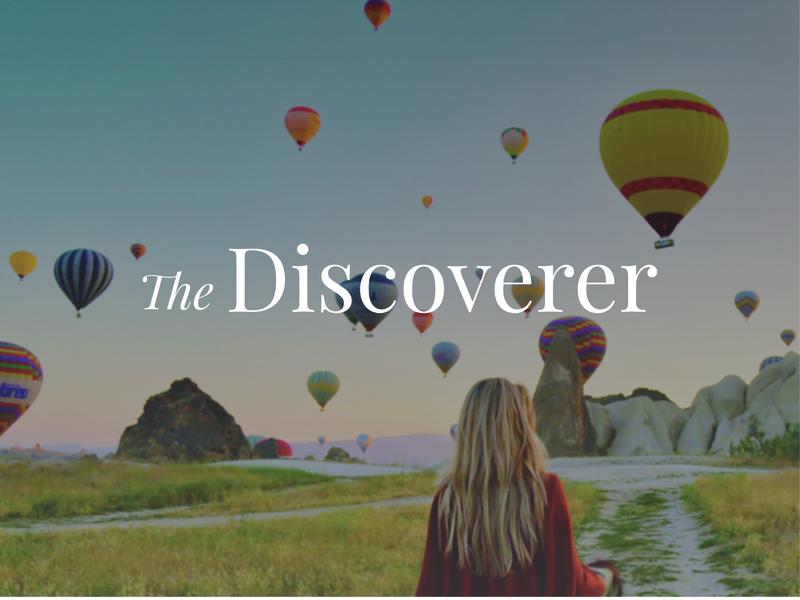 The Discoverer branding cappadocia hot air balloons travel identity branding logo