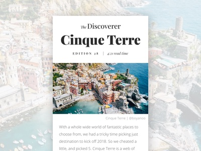 email edition 28: Cinque Terre email discovery discover travel cinque terre the discoverer edition