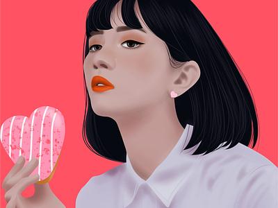 Lovely corazon san valentin rosa art vector draw chica arte digital design diseño ilustración