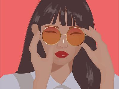 Circle glasses illustration vector art chica draw arte digital design ilustración diseño