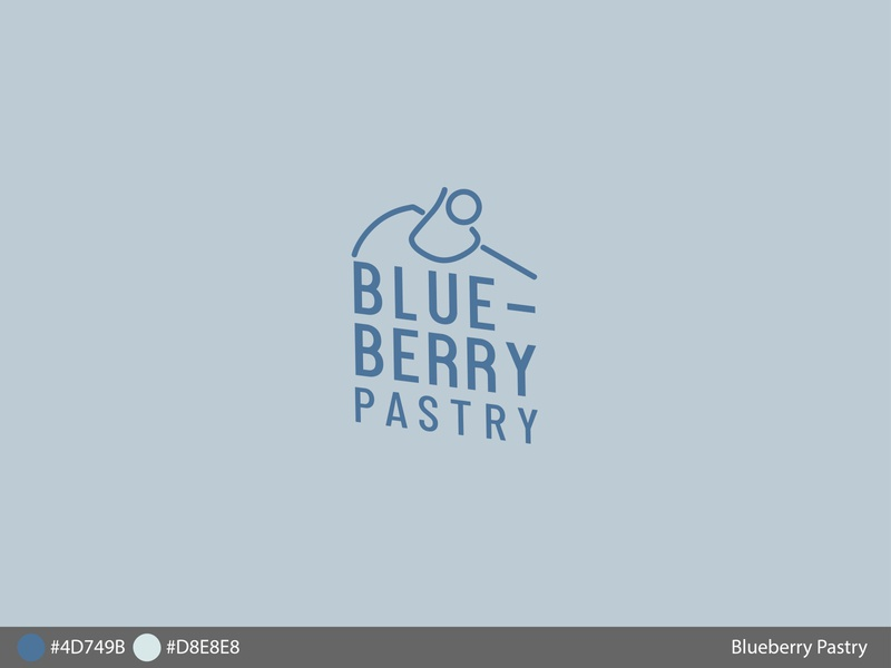 Blueberrypastry blueberry blue cake pastry icon typography branding logo design digital diseño