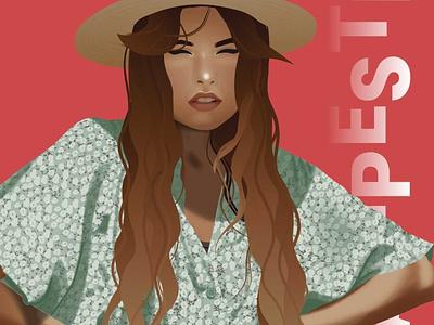 Campestre illustration chica vector art draw arte ilustración design digital diseño