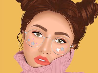 Amarillo lentes amarillo vector logo draw arte digital design chica diseño ilustración