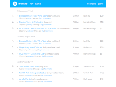 Localtivity local activities events producthunt hackernews los angeles silicon beach