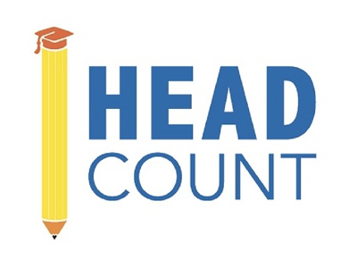 Head Count Logo Design yellow orange blue edtech logo