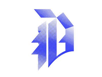 Blackletter D icon design blue texture logo design logo illustration lettering typography 36daysoftype07 36daysoftype