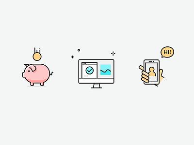 icon check graphic pig bubble hand phone money desktop pc web ui