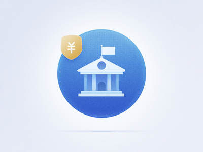 Bank ui illustration icon flag building bubble blue bank abstract