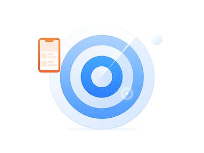Target point scan bubble radar ui phone blue icon