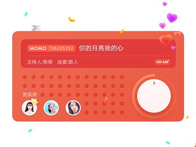 Radio flat player music ui ribbon momo live ios icon heart design