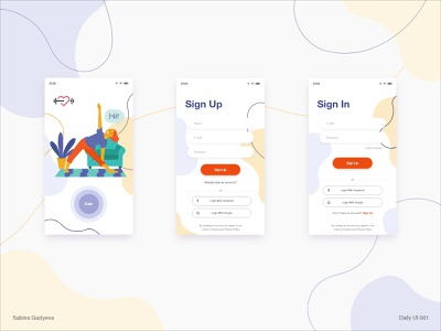 Sign Up and Sign In ui design xd signin signup dailyui001