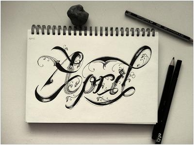 April typography calendar april hand-drawn custom