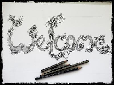 Welcome typography custom hand-drawn victorian ornamental