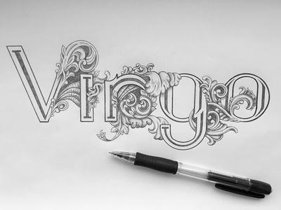 Virgo virgo calendar zodiac sign typography lettering hand-drawn ornamental floral victorian