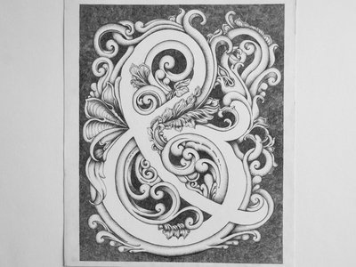 Ampersand black and white detailed handtype handdrawn illustration art type floral ornamental symbol typography ampersand