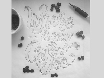 Where [The Hell] Is My Coffee ? type typographie handlettering script handtype lettering typography coffee