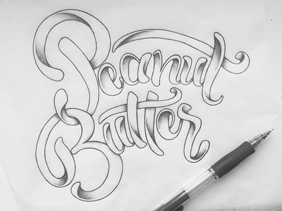 Peanut Butter custom font type typographie handlettering script handtype lettering typography food peanut butter