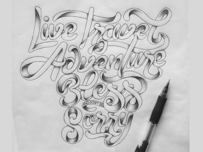 Kerouac hand-lettering adventure travel live quote shading hand-drawn type lettering typography