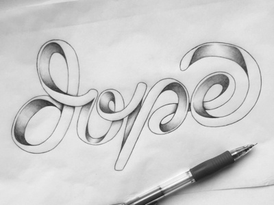 Dope hand-lettering ligature dope shading hand-drawn type lettering typography