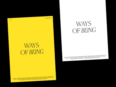 WAYS OF BEING - Poster neue haas grotesk neue canela poster