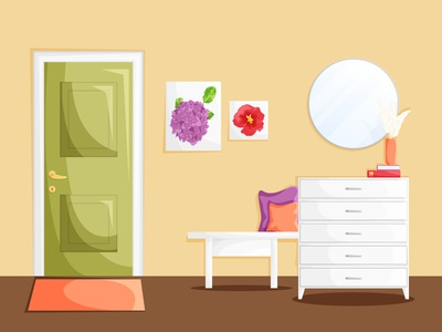 The home hallway with a green door and white wooden furniture furniture design entrance hallway room cartoon flat design design background interior illustration house home furniture flat