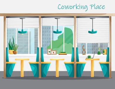 Coworking flat interior design with workplaces and city view