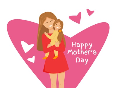 Greeting card for mother's day with happy mummy and daughter