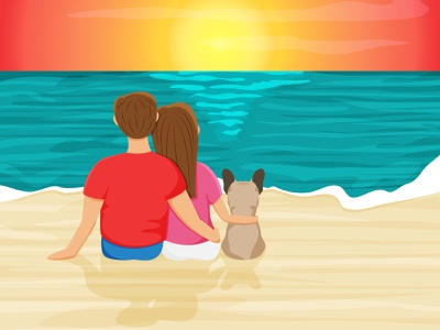 Summer beach scene with an enamored couple and french bulldog landscape nature design greeting card illustraion travel character design beach time summer vacation french bulldog sunset sunrise beach scene concept character vector background cartoon illustration design
