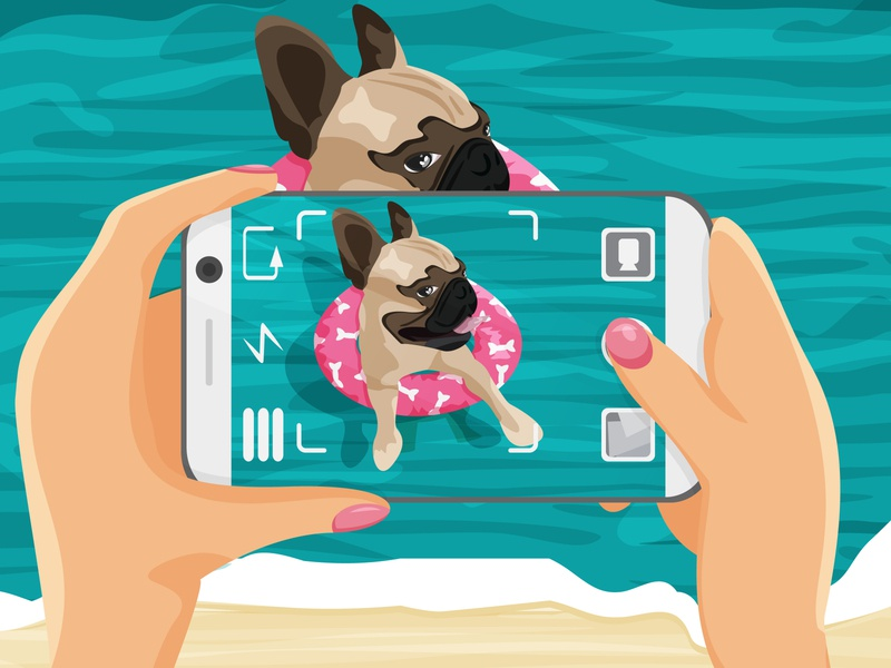 The girl is taking a photo of her dog in the ocean. Cartoon pic