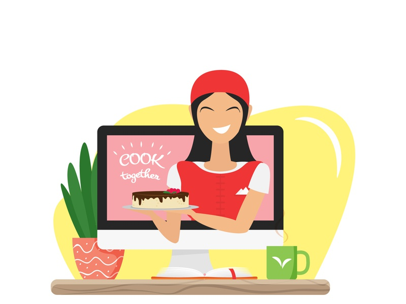 Happy Asian woman making a blog about healthy desserts