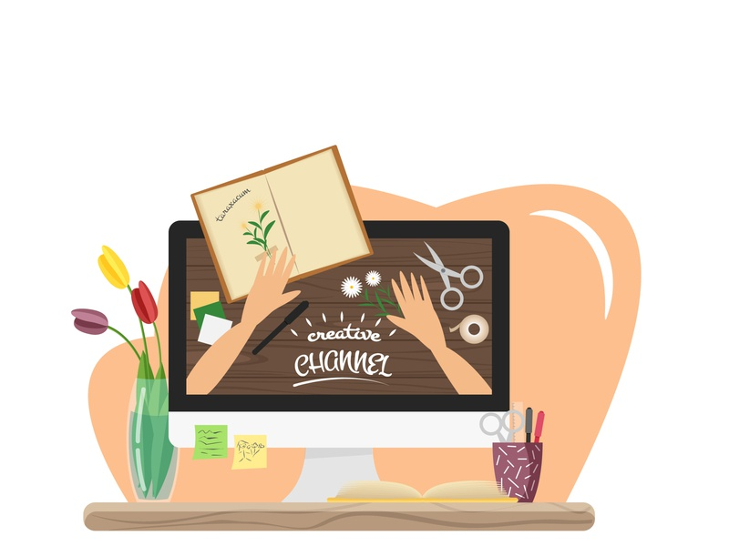 Vector flat illustration of creative channel about scrapbooking