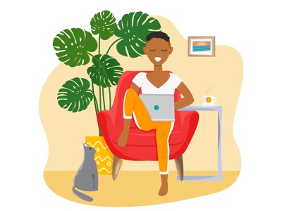 African handsome girl is freelancer and working at home work at home businesswoman stay home flat character design home office freelancer freelance design freelance illustrator character design character house interior concept home vector flat design cartoon design illustration flat