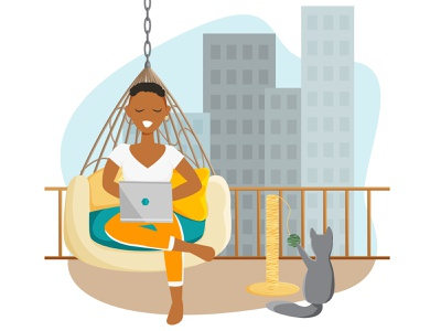 A handsome woman is working in laptop and sitting in a hammock concept design british shorthair female character african american african woman city background interior design freelancer character design background interior home concept flat design cartoon design character vector illustration flat