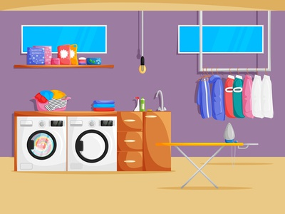 The concept design of the basement laundry room