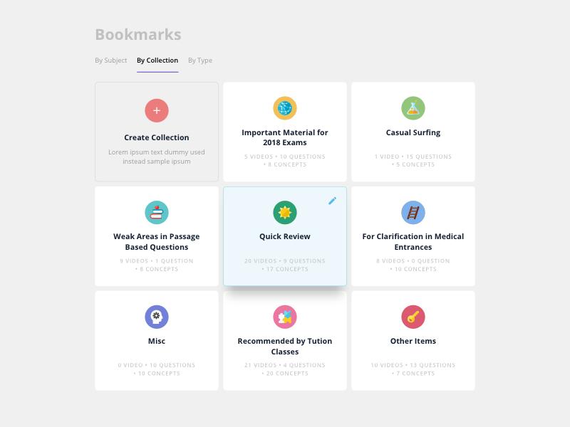 Bookmarks Page responsive desktop card interface grid ux ui bookmarks bookmark web