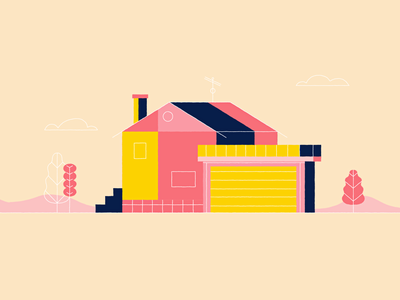 House in pink house vector design illustration