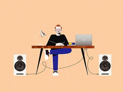 Sound designer sound designer collage character music workfromhome work office people room vector illustration