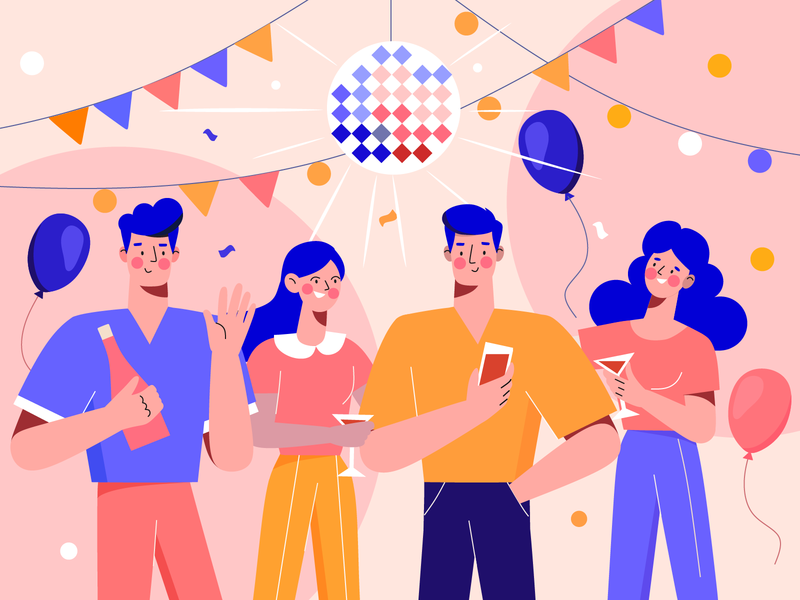 Shot from my new project party party event character people vector design illustration