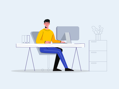 Office worker clerk office worker office character people design illustration