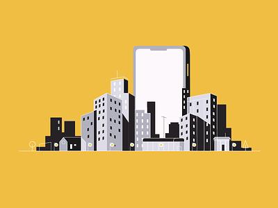 City skyline building phone iphone city vector illustration