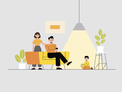 Family illustration design vector stroke character people room family flat