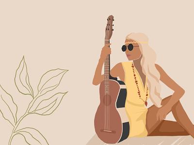 Girl with a guitar relax sunny sun illustration art illustrations illustrator human icon graphic design branding flat design girl art logo illustration happy guitar hippie