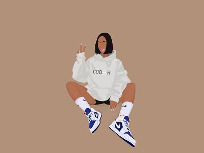 Nike coder nike characters character illustrator illustration art illustration graphic design girl flat design art