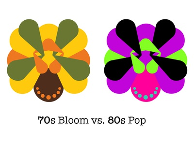 70s Bloom vs. 80s Pop decades bold shapes geometry nostalgic nostalgia pop avocado 1980s 1970s flowers flower orchid pattern abstract abstract art vector surface design illustration design
