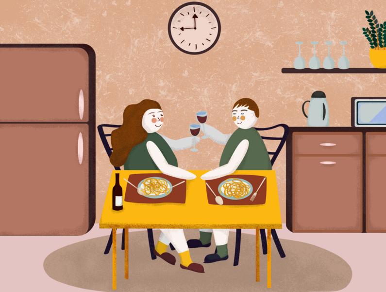 Illustration. Wine Lovers.