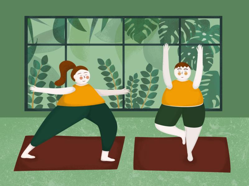 Illustration. Yoga Lovers.