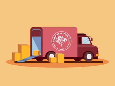 Branded Truck for Sunday Morning. sunday morning track brand illustrator illustrations flat illustration design design vector art vector illustration